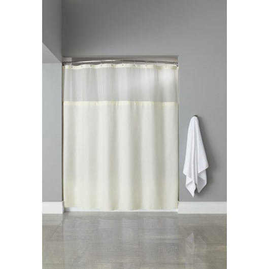 "It's A Snap! HBH40SL0554 Beige Polyester Shower Curtain Liner with Magnets - 70"" x 54"""