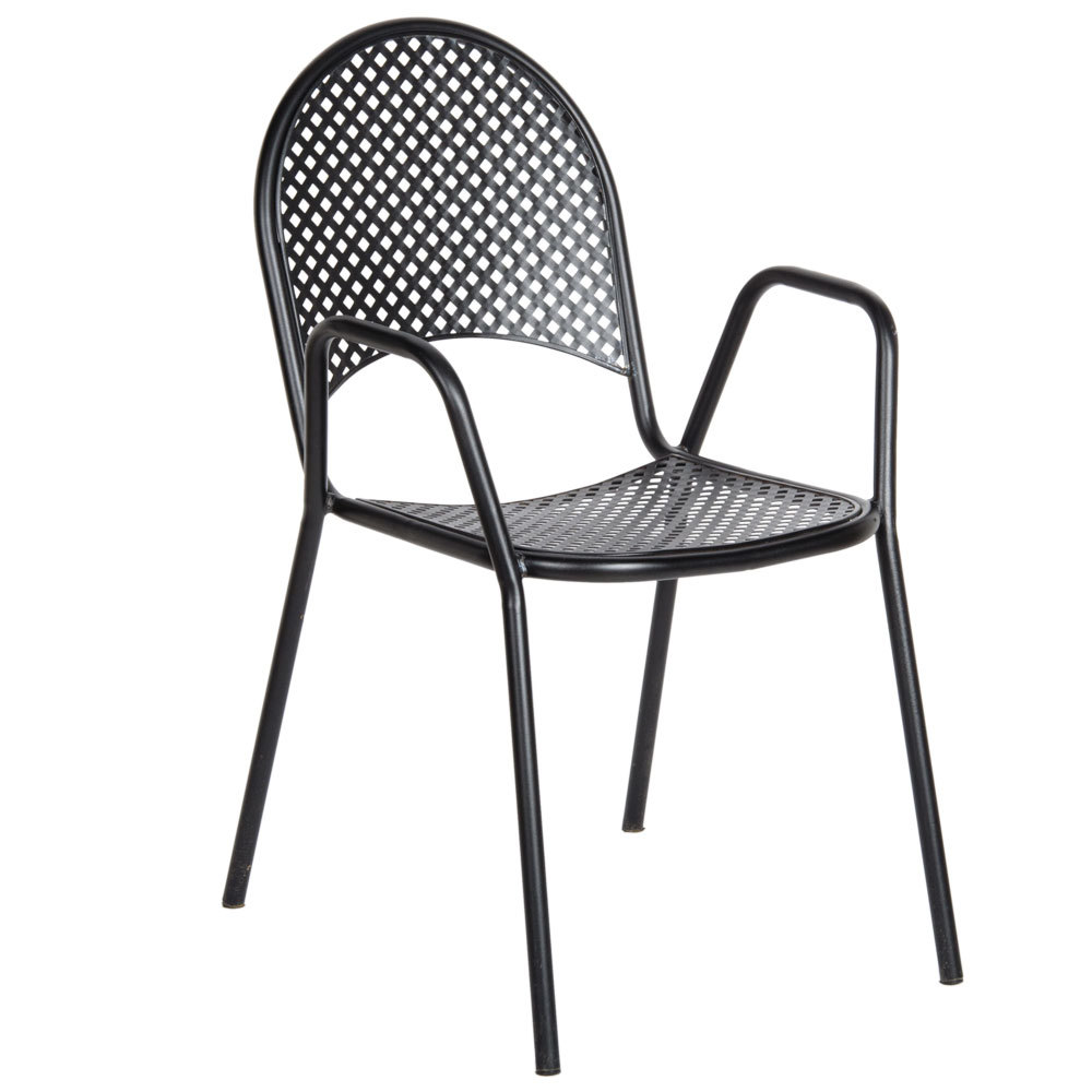 American tables and seating 90b metal black outdoor chair for Outdoor seating furniture