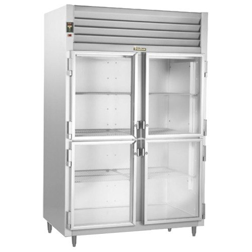Traulsen RHT232DUT-HHG Stainless Steel 42 Cu. Ft. Two Section Glass Half Door Narrow Reach In Refrigerator - Specification Line Main Image 1