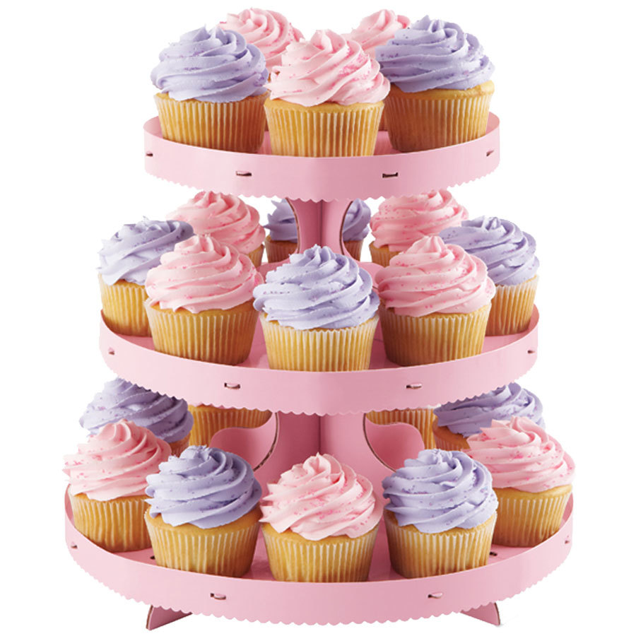 Wilton 1512-0884 3-Tier Disposable Cupcake Stand With Pink