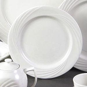 "CAC GAD-20 Garden State 11 1/4"" Bone White Round Porcelain Plate - 12/Case Main Image 1"