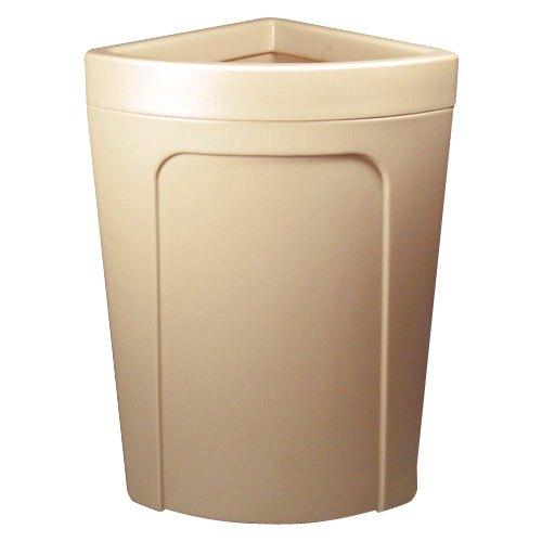 Continental 8324BE Corner'Round 21 Gallon Beige Corner Trash Can - Rim Type