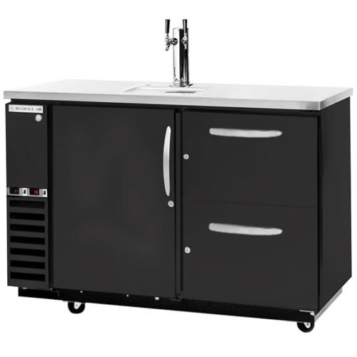 Beverage-Air DZD58-1-B-3 Double Tap Dual Zone Kegerator Beer Dispenser, 1 Keg Drawer and 2 Pull-Out Wine Drawers - Black, (4) 1/6 Keg Capacity