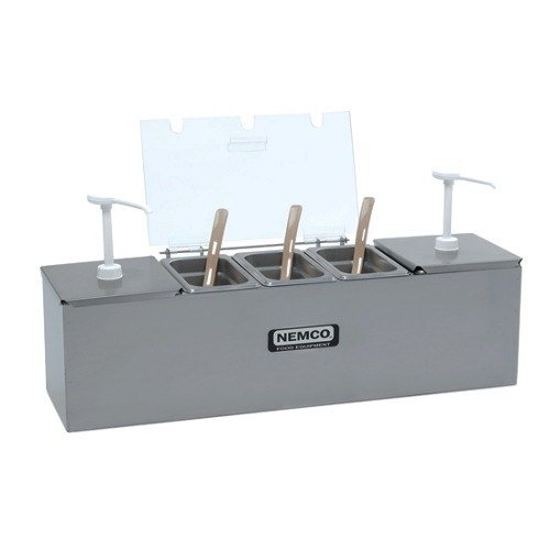 """Nemco 88100-CB-2 26"""" Stainless Steel Condiment Bar with Two 3 Qt. Pumps and 1.1 Qt. Condiment Trays"""
