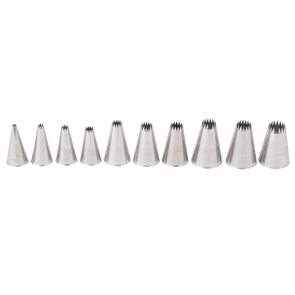 Ateco 870 10-Piece Stainless Steel French Star Piping Tip Decorating ...