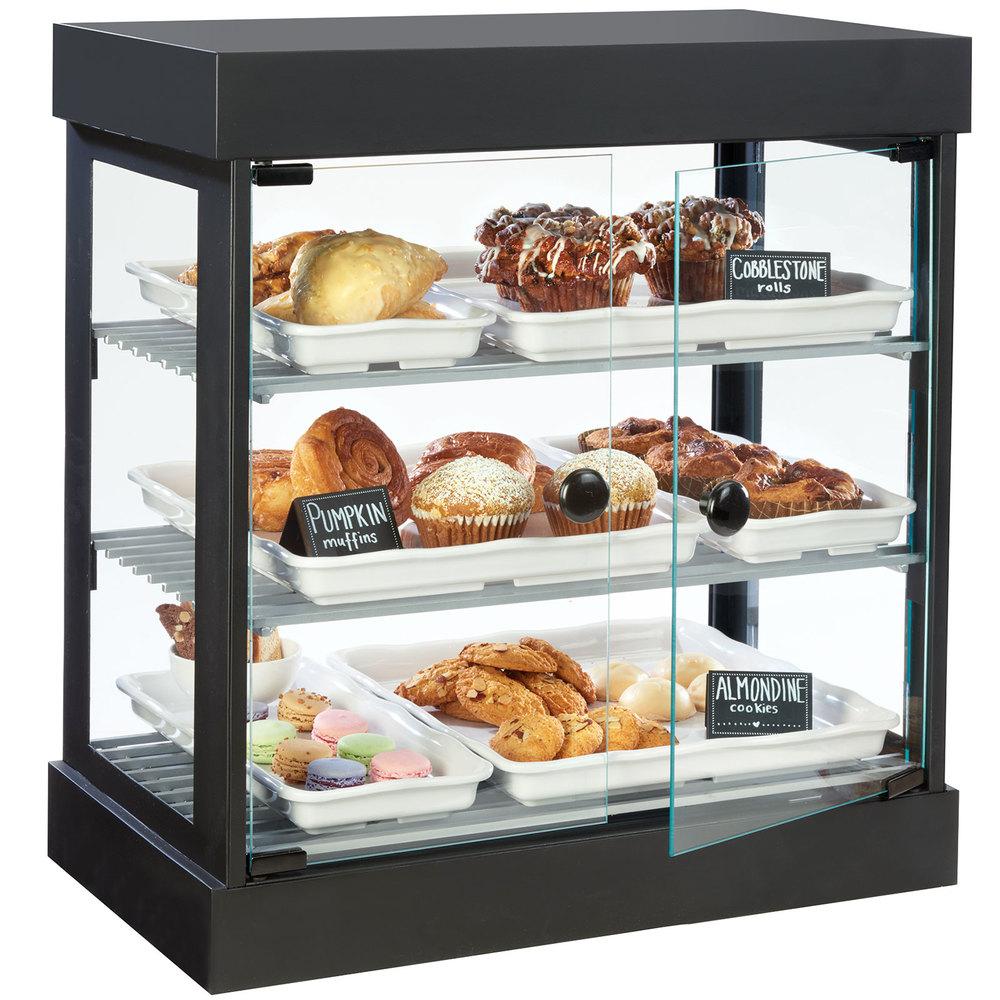 cal mil 3419 13 3 tier black bistro bakery display case. Black Bedroom Furniture Sets. Home Design Ideas