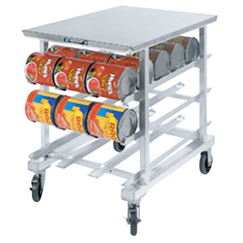 "Lakeside 346 Aluminum Mobile #10 Can Rack with Stainless Steel Top - 35"" High"
