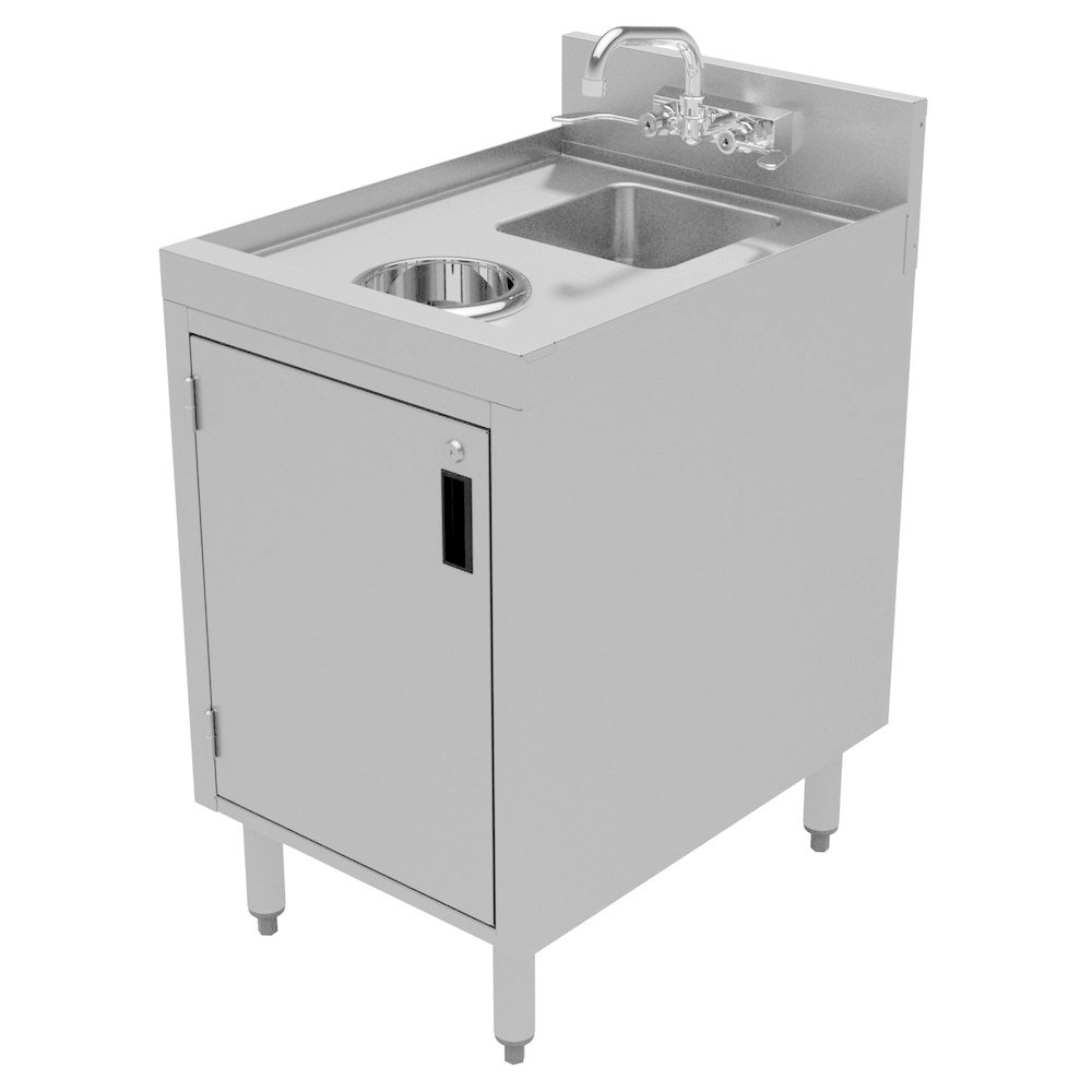 Advance tabco crdw 18 stainless steel cabinet with dump for Metal sink cabinet