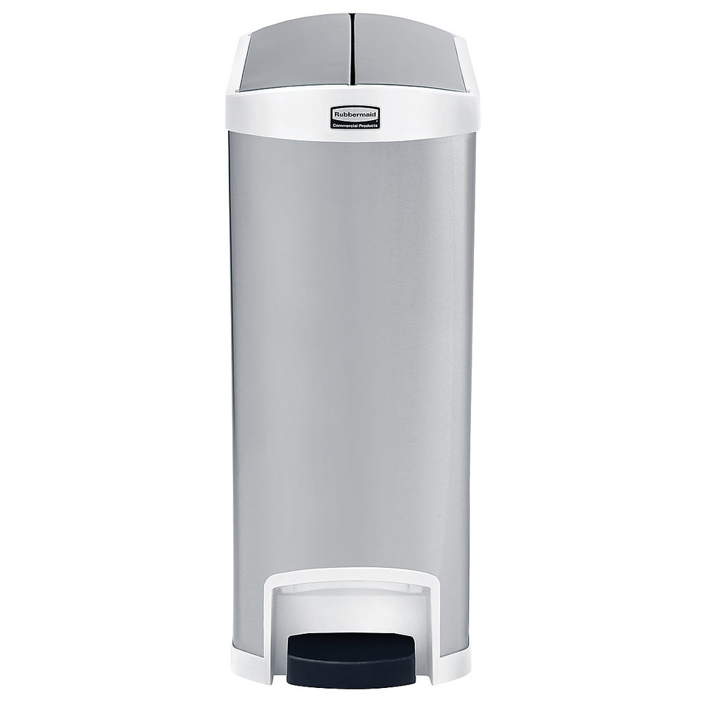 rubbermaid slim jim stainless steel white accent end stepon trash can with single