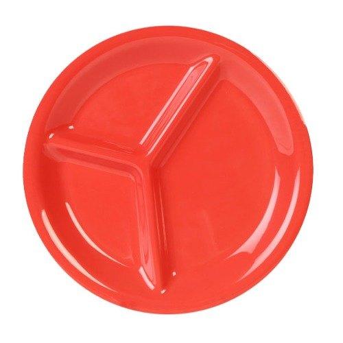 "Thunder Group CR710RD 10 1/4"" Orange 3-Compartment Melamine Plate - 12/Pack"