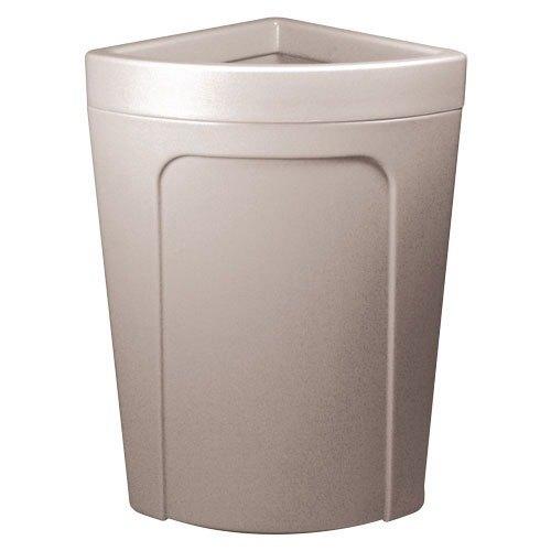 Continental 8324GY Corner'Round 21 Gallon Gray Corner Trash Can - Rim Type