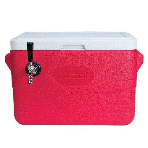 Micro Matic CB281R-70 Red 1 Faucet 28 Qt. Insulated Jockey Box with 70 ft. Coil