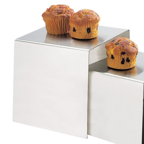 """Cal-Mil 239-8 8"""" Stainless Steel Open Cube Riser Main Image 1"""