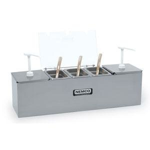 "Nemco 88101-CB-2P 24"" Stainless Steel Condiment Bar with Two 1.5 Qt. Pumps, 0.6 Qt. Condiment Trays, and Two Ice Packs"