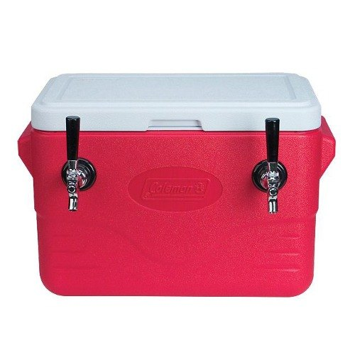 Micro Matic CB282R-5070 Red 2 Faucet 28 Qt. Insulated Jockey Box with 50 and 70 ft. Coils