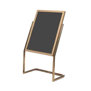 """Aarco P-17B Brass 25"""" x 48"""" Double Pedestal Sign Stand with Markers"""