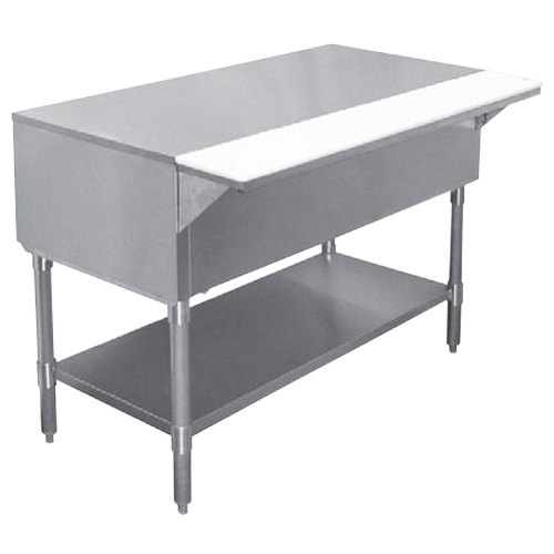 """APW WT-5 22 1/2"""" x 79"""" Stainless Steel Work-Top Counter with Cutting Board and Galvanized Undershelf"""