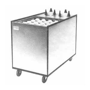 """APW Wyott Lowerator MCTRS-2020-6 Mobile Enclosed Combination 20"""" x 20"""" Glass Rack and 5 1/8"""" to 5 3/4"""" Saucer Dispenser"""