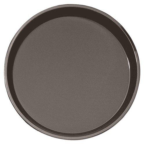 "Cambro PT1100167 Brown 11"" Round Polytread Serving Tray"