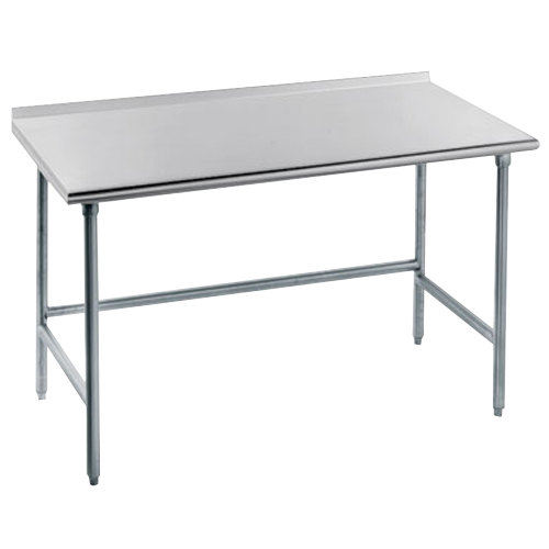 "Advance Tabco TFMG-366 36"" x 72"" 16 Gauge Open Base Stainless Steel Commercial Work Table with 1 1/2"" Backsplash"