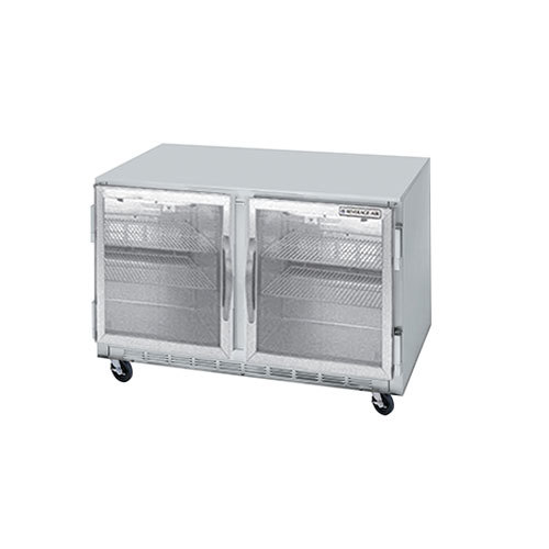 """Beverage-Air UCR60AR-25-LED 60"""" Remote Cooled Undercounter Refrigerator with Glass Doors and LED Lighting"""