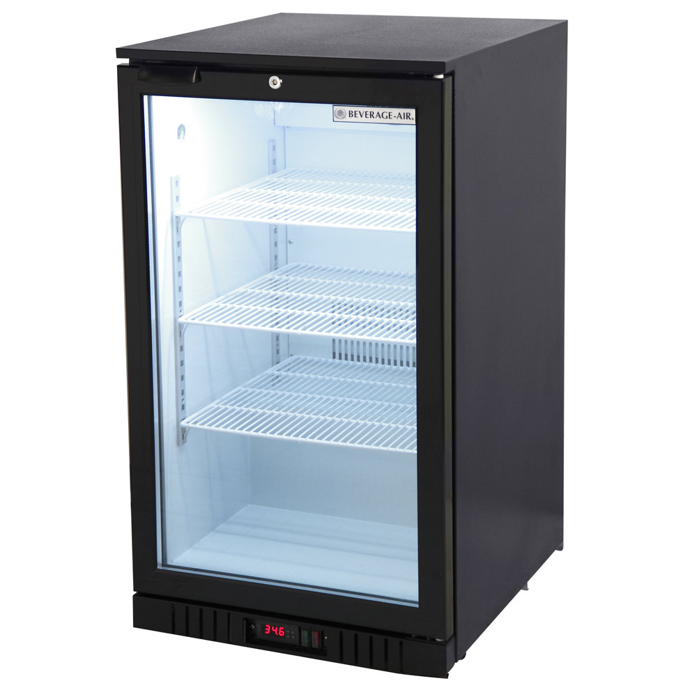 115 Volts Beverage Air CT96 1 B LED Black Countertop Display Refrigerator  With Swing ...
