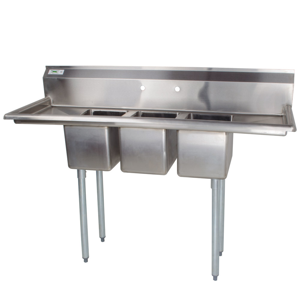 Regency 58 Inch 16 Gauge Stainless Steel Three Compartment Commercial Sink  With 2 Drainboards ...
