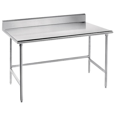 """Advance Tabco TKSS-367 36"""" x 84"""" 14 Gauge Open Base Stainless Steel Commercial Work Table with 5"""" Backsplash"""