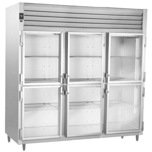Traulsen AHT332NUT-HHG 69.5 Cu. Ft. Three Section Glass Half Door Narrow Reach In Refrigerator - Specification Line Main Image 1