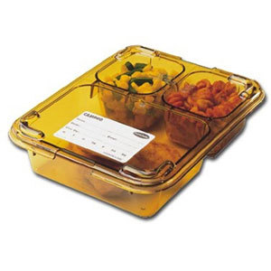 """Cambro 853FHC150 Amber Heat Resistant Tray on Tray Insert Tray Lid 8 11/16"""" x 6 5/16"""" - 24/Case"""