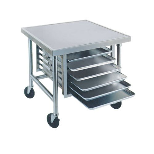"Advance Tabco MT-MS-300 30"" x 30"" Stainless Steel Mobile Mixer Table with Stainless Steel Base and Tray Slides"