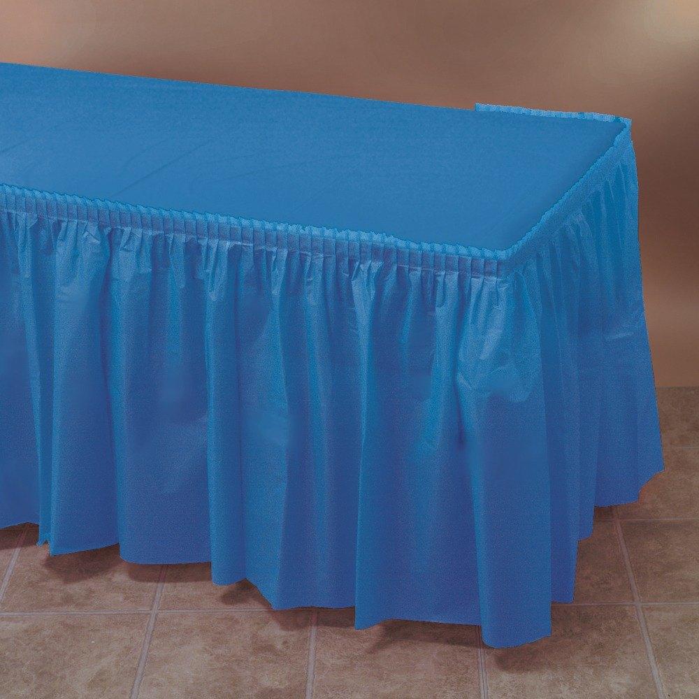 Blue plastic table skirt 14 39 x 29 for Table skirting