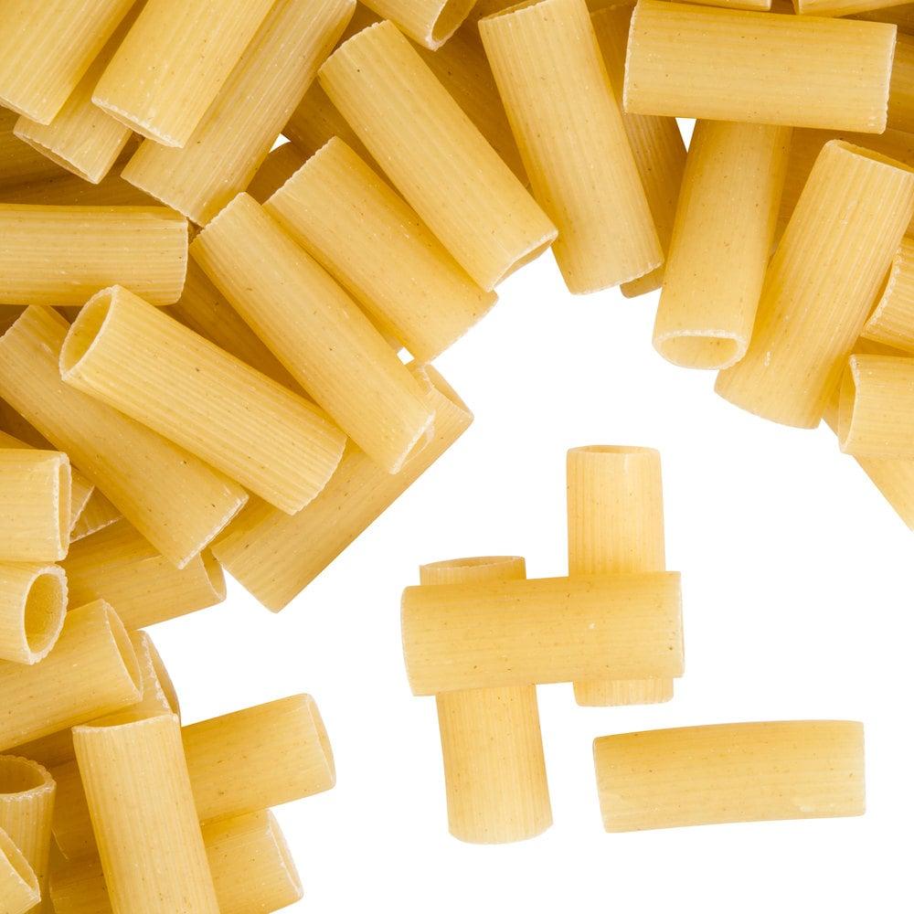Close up of dry rigatoni pasta