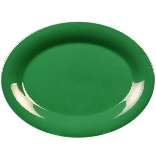 """Thunder Group CR209GR 9 1/2"""" x 7 1/4"""" Oval Green Platter - 12/Pack"""