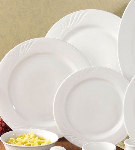"CAC RSV-7 Roosevelt 7 1/4"" Super White Porcelain Plate - 36/Case Main Image 1"