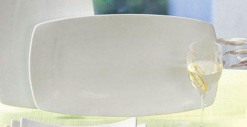 "CAC SHA-93 Sushia 12 1/2"" x 9"" Super White Rectangular Flat Porcelain Plate - 12/Case Main Image 1"