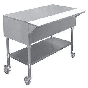 """APW PWT-5 22 1/2"""" x 79"""" Mobile Stainless Steel Work-Top Counter with Cutting Board and Galvanized Undershelf"""