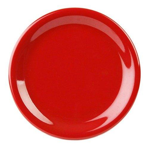 "Thunder Group CR110PR 10 1/2"" Pure Red Narrow Rim Melamine Plate - 12/Pack"