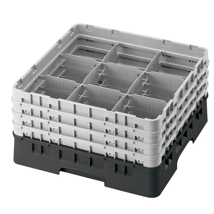 "Cambro 9S318110 Black Camrack Customizable 9 Compartment 3 5/8"" Glass Rack"