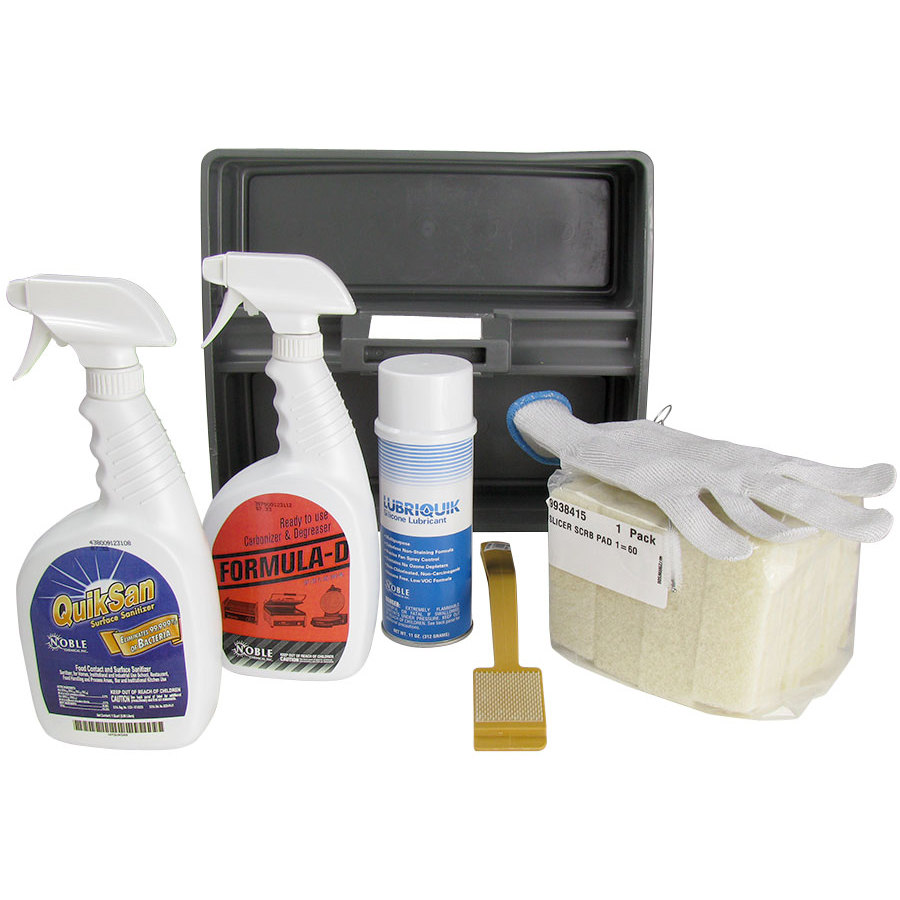Meat slicer safety cleaning kit with caddy, three cleaners, gloves, sponges, and cleaning brush