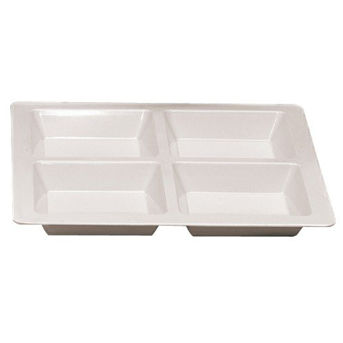 Thunder Group PS5104W Passion White 60 oz. Melamine Square 4 Section Compartment Tray - 6/Pack