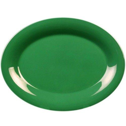 """Thunder Group CR212GR 12"""" x 9"""" Oval Green Platter - 12/Pack"""
