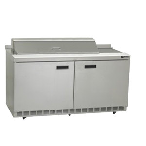 "Delfield ST4460N-18M 60"" 2 Door Mega Top Refrigerated Sandwich Prep Table with 4"" Backsplash"