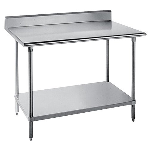 "Advance Tabco KSS-306 30"" x 72"" 14 Gauge Work Table with Stainless Steel Undershelf and 5"" Backsplash"