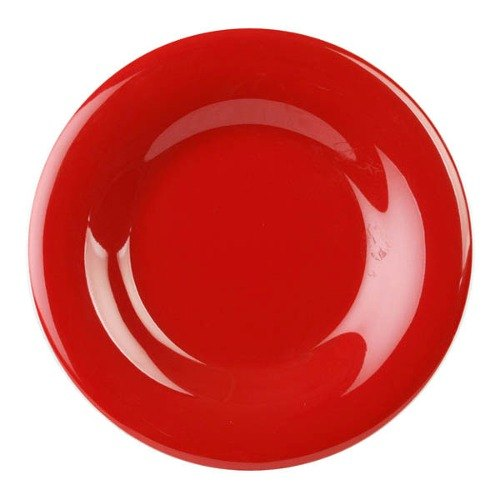 """Thunder Group CR012PR 11 3/4"""" Pure Red Wide Rim Melamine Plate - 12/Pack Main Image 1"""