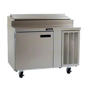 """Delfield 18648PTL 48"""" One Door Refrigerated Pizza Prep Table with LiquiTec Raised Rail"""