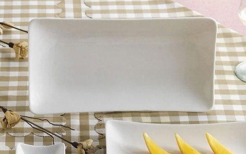"CAC SHA-13 Sushia 12"" x 6 1/4"" Super White Rectangular Porcelain Platter - 12/Case Main Image 1"