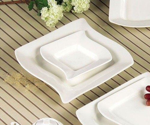 CAC SOH-120 Soho 24 oz. Ivory (American White) Square Stoneware Pasta Bowl - 12/Case Main Image 1