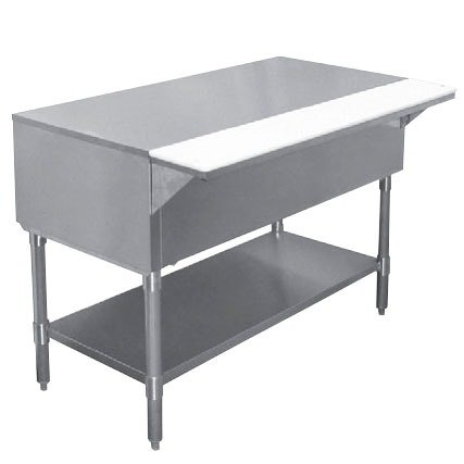"""APW WT-3 22 1/2"""" x 48"""" Stainless Steel Work-Top Counter with Cutting Board and Galvanized Undershelf"""