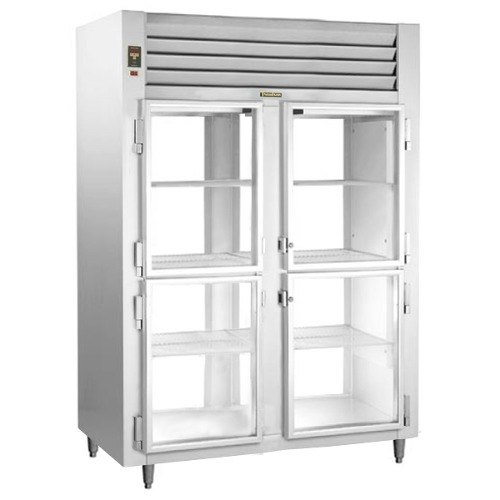 Traulsen RHT232WPUT-HHG Stainless Steel Two Section Glass Half Door Pass-Through Refrigerator - Specification Line Main Image 1